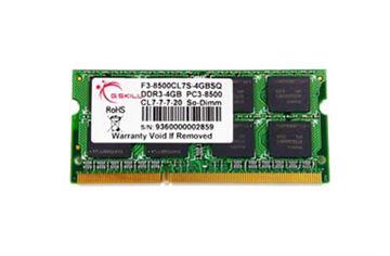 Memorija SO DIMM PC-8500, 2 GB, G.SKILL F3-8500CL7S-2GBSQ, DDR3 1066 MHz
