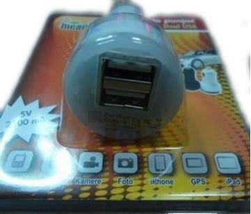 Auto punjač MEANIT, 2 USB priključka, bijeli