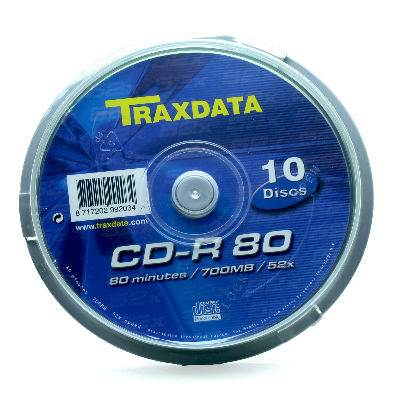 Medij CD-R TRAXDATA 52x, 700MB, printable, spindle 10 kom