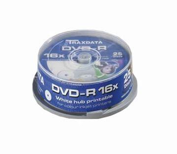 Medij DVD-R TRAXDATA 16x, 4.7GB, Full Printable, 25 komada