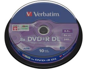 Medij DVD+R DL VERBATIM 8x, 8.5GB, Matt Silver, spindle 10 komada