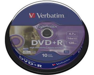 Medij DVD+R VERBATIM 16x, 4.7GB, LightScribe, spindle 10 komada