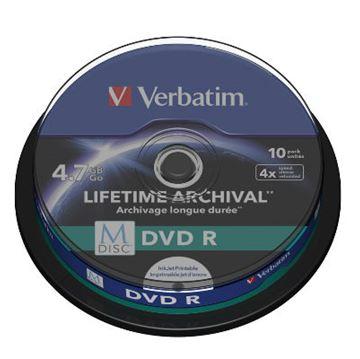 Medij DVD+R Verbatim 4x, 4.7GB, M-Disc, Printable 10 pack spindle