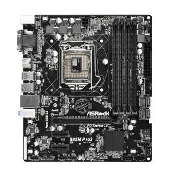 Matična ploča ASROCK B85M Pro3, Intel B85, DDR3, zvuk, G-LAN, S-ATA, PCI-E 3.0, USB 3.0, D-SUB, DVI, HDMI, mATX, s. 1150