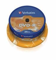 Medij DVD-R VERBATIM 16x, 4.7GB, Matt Silver, spindle 25 komada