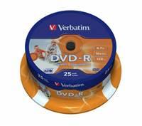 Medij DVD-R VERBATIM 16x, 4.7GB, Wide Photo Printable, spindle 25 komada
