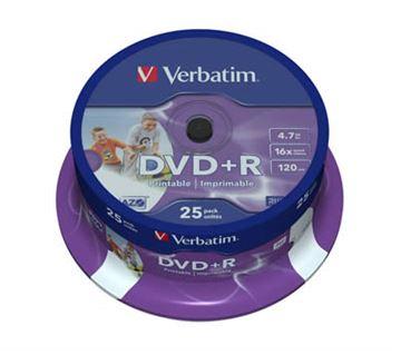 Medij DVD+R VERBATIM 16x, 4.7GB, Wide Photo Printable, spindle 25 komada
