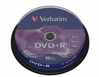 Medij DVD+R VERBATIM 16x, 4.7GB, Matt Silver, spindle 10 komada