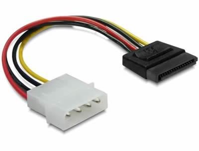 Kabel DELOCK, 4-pin Molex (M) na 15-pin SATA (M), naponski, interni