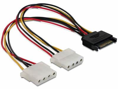 Kabel DELOCK, 15-pin SATA (M) na 2x 4-pin Molex (Ž), naponski, interni