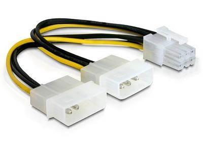 Kabel DELOCK, 2x 4-pin Molex (Ž) na 6-pin (M) za grafičku karticu, naponski, interni