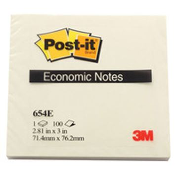 Samoljepljivi blok Post-it 654E-WY Economic line, 72mm x 76mm, 100 listića, žuti, paket od 12 blokova