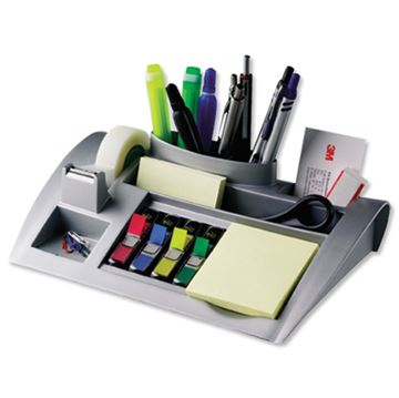 Stolni organizer 3M C50, srebrni + Post-it 654 + paket zastavica 683-4 + ljepljiva traka Magic 810