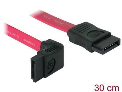 Kabel DELOCK, interni SATA, 30cm, crveni, jedan konektor pod gornjim 90° kutem