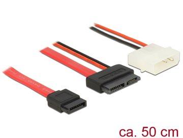 Kabel DELOCK, kombinirani slim SATA 13-pin na SATA 7-pin (M) + 2-pin 5V napajanje, za Slim SATA uređaje, 50 cm