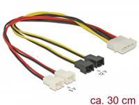 Kabel DELOCK, 4-pin Molex (M) na 4 x 2 pin  Fan (Ž), naponski, interni