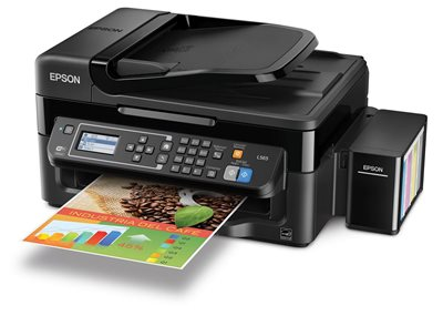 Multifunkcijski uređaj EPSON L565, print/scan/copy/fax, Ink Tank System -> iznimno povoljan ispis, nova tehnologija, 5760 dpi, USB, LAN, WiFi
