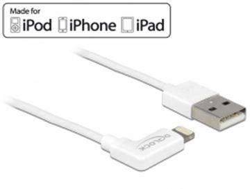 Kabel DELOCK, USB 2.0, USB-A (M) na 8-polni Apple Lightning priključak, za podatke i napajanje, za Iphone,iPad,iPod, 1m, pod kutem, bijeli