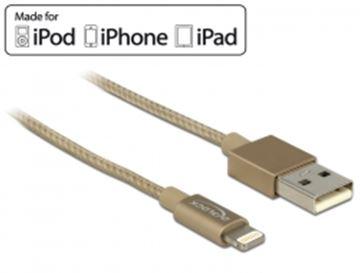 Kabel DELOCK, USB 2.0, USB-A (M) na 8-polni Apple Lightning priključak, za podatke i napajanje, za Iphone,iPad,iPod, 1m, zlatni