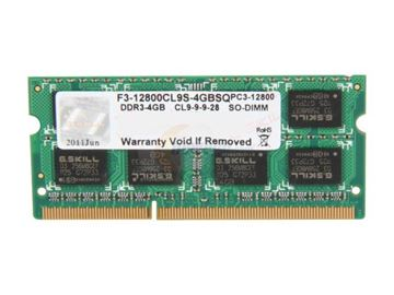 Memorija SO DIMM PC-12800, 4 GB, G.SKILL F3-12800CL9S-4GBSQ, DDR3 1600 MHz