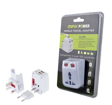 Putni punjač za prijenosna računala MAXPOWER WP-300A, 2.1A, DUO USB, bijeli