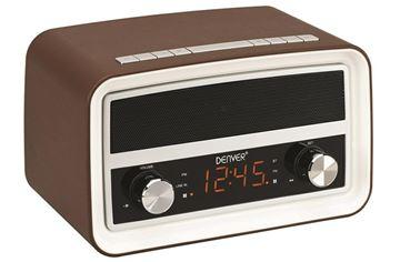 Radio budilica DENVER CRB-619, retro dizajn, BT, smeđa
