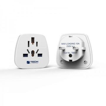 Putna utičnica TRAVEL BLUE, World to Europe, 2x USB, strujna utičnica, 2100mAh, bijela