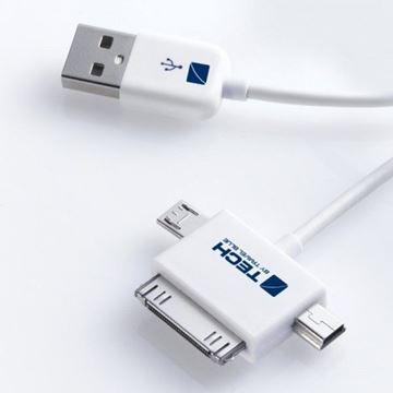Kabel TRAVEL BLUE, 3u1, USB na micro USB, mini USB, 30-pin Apple, 1.0m, bijeli