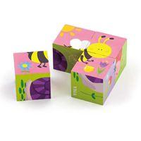 Drvena igračka VIGA 50160, Kocke puzzle, 6 slika, 4 komada, životinje