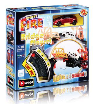 Set za igranje BBURAGO 30043, Street Fire, Bridge Playset, Most, 1:43