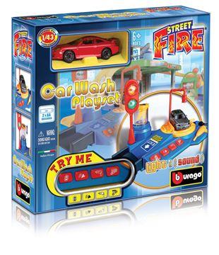 Set za igranje BBURAGO 30087, Street Fire, Car Wash Playset, Autopraonica, 1:43