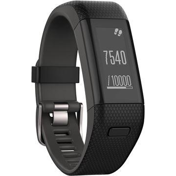 Narukvica za mjerenje aktivnosti GARMIN Vivosmart HR+, GPS, senzor otkucaja srca na zapešću, Move IQ, automatska sinkronizacija,  crna