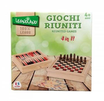 Društvena igra LEGNOLAND 65501, 4u1 (Šah, Dama, Backgammon, Mikado)