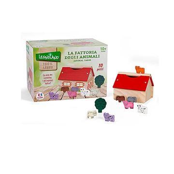 Drvena igračka LEGNOLAND 365877, Drvena farma sa životinjama, 10 komada