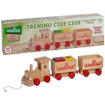 Drvena igračka LEGNOLAND, Drveni vlakić u tri dijela sa kockama