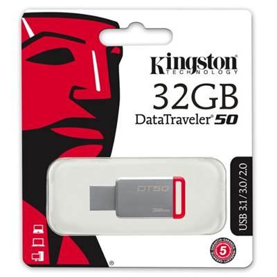 Memorija USB 3.1 FLASH DRIVE 32 GB, KINGSTON DT50/32GB, crvena