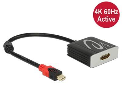 Adapter DELOCK, DisplayPort (M) na HDMI (Ž), 4K 60Hz, aktivni, crni, 27,5cm