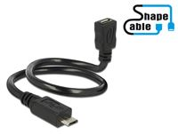 Kabel DELOCK, USB 2.0 USB micro-B (M) na USB micro-B (Ž), produžni, ShapeCable, OTG, 0.35 m