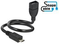Kabel DELOCK, USB 2.0 USB micro-B (M) na USB-A (Ž), produžni, ShapeCable, OTG, 0.35 m