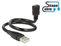 Kabel DELOCK, USB 2.0 USB-A (M) na USB micro-B (Ž), produžni, ShapeCable, 0.35 m