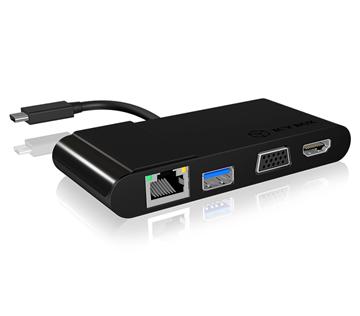 Adapter ICY IB-DK403-C, USB 3.0-C (M) na HDMI/VGA (Ž), USB 3.0, G-LAN, crni