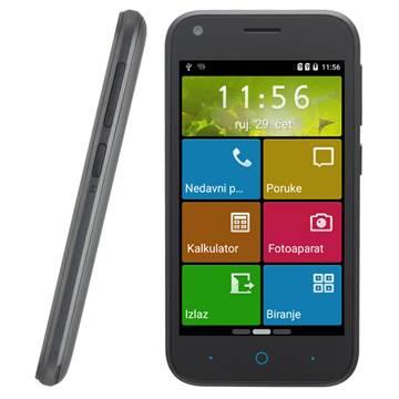"Smartphone ZTE Blade L110, 4"" touchscreen, QuadCore Cortex A7 1.2GHz, 512MB RAM, 4GB Flash, MicroSD, BT, GPS, Dual SIM, 2x kamera, Android 5.1, crni"