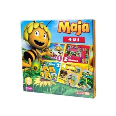 Društvena igra DEXY, Pčelica Maja 4u1 (Puzzle, Memory, Domino, Loto)