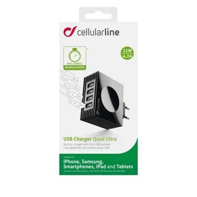 Kućni punjač CELLULARLINE Quad, 4x USB, 4000mAh, crni