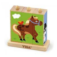 Drvena igračka VIGA 50833, Drvene kocke s postoljem, domaće životinje