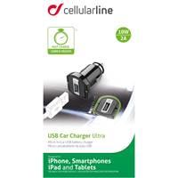 Auto punjač CELLULARLINE, USB, 2000mAh, crni