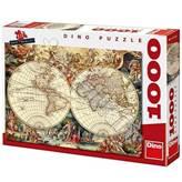 Slagalica DINO, Map Of The World, povijesna karta svijeta, 1000 komada