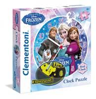 Slagalica CLEMENTONI, Disney, Frozen clock puzzle, sat, fluorescentna, 96 komada