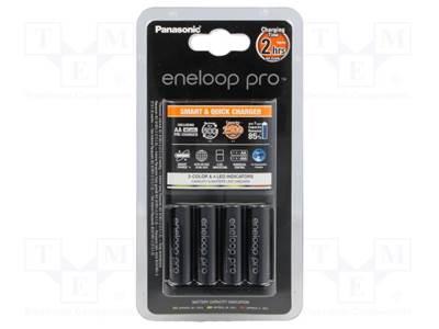 Punjač baterija PANASONIC Eneloop PRO KKJ55HCD40E, 4 mjesta za punjenje + 4x 2450mAh AA baterije