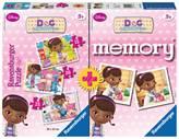 Slagalica RAVENSBURGER, Disney, Doc McStuffins, doktorica Pliško 4u1 (3x puzzle + memory)